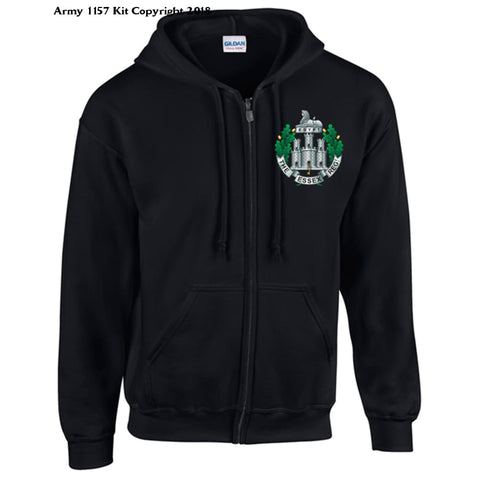Ministry Of Defence Zip Hoodie With Essex Regiment Logo Front. Official Mod Approved Merchandise - S / Black - Hoodie