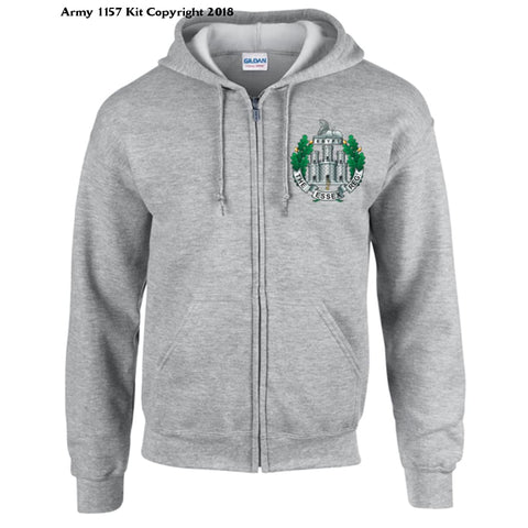 Ministry Of Defence Zip Hoodie With Essex Regiment Logo Front. Official Mod Approved Merchandise - S / Grey - Hoodie