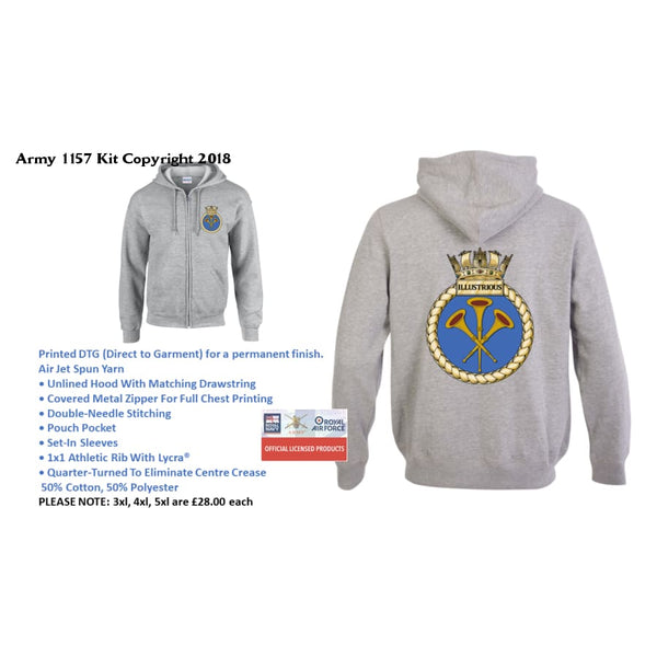 Ministry of Defence Zip Hoodie with illustrious Logo Front and Back. Official MOD Approved Merchandise - Army 1157 Kit  Veterans Owned Business