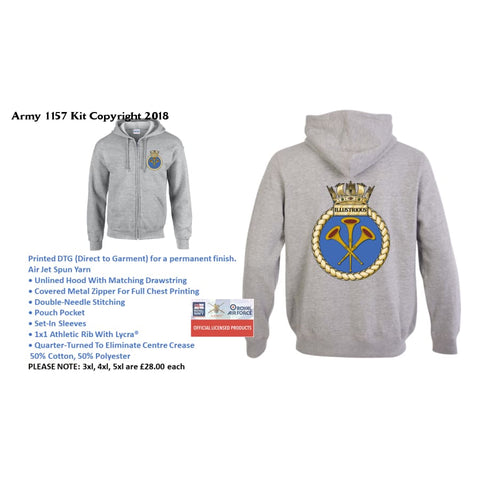 Ministry Of Defence Zip Hoodie With Illustrious Logo Front And Back. Official Mod Approved Merchandise - S - Hoodie