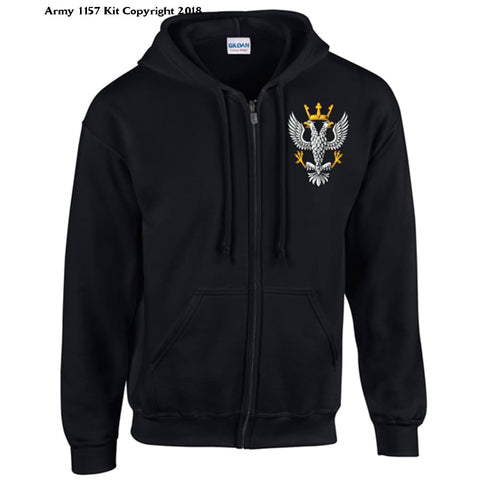 Ministry Of Defence Zip Hoodie With Mercian Logo Front Only Official Mod Approved Merchandise - S / Black - Hoodie