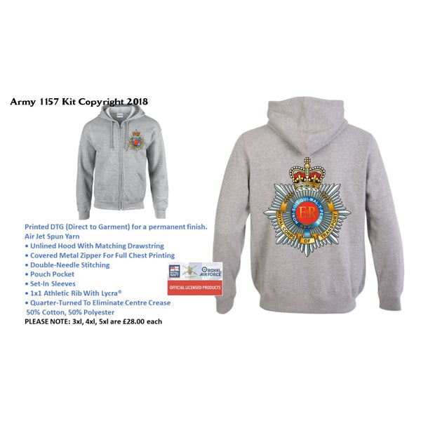 Ministry of Defence Zip Hoodie with RCT Logo Front and Back. Official MOD Approved Merchandise - Army 1157 Kit  Veterans Owned Business