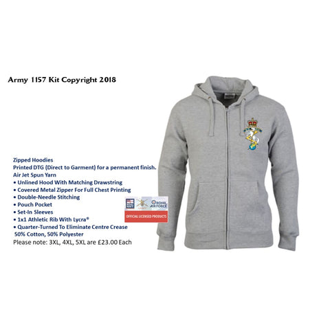 Ministry of Defence Zip Hoodie with REME Logo Front only Official MOD Approved Merchandise - Army 1157 Kit  Veterans Owned Business