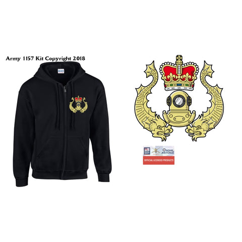 Ministry Of Defence Zip Hoodie With Rn Diver Logo Front Only Official Mod Approved Merchandise - S - Hoodie