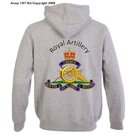 Ministry Of Defence Zip Hoodie With Royal Artillery Logo Front And Back. Official Mod Approved Merchandise - S - Hoodie