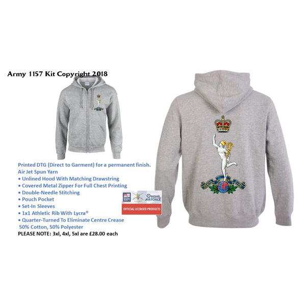 Ministry of Defence Zip Hoodie with Royal Corps of Signals Logo Front and Back. Official MOD Approved Merchandise - Army 1157 Kit  Veterans Owned Business