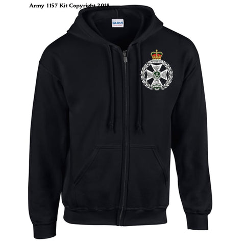 Ministry Of Defence Zip Hoodie With Royal Green Jacket Logo Front. Official Mod Approved Merchandise - S / Black - Hoodie