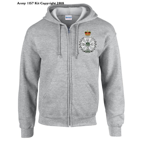 Ministry Of Defence Zip Hoodie With Royal Green Jacket Logo Front. Official Mod Approved Merchandise - S / Grey - Hoodie