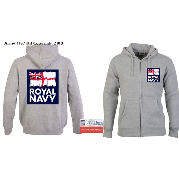 Ministry of Defence Zip Hoodie with Royal Navy Logo Front and Back. Official MOD Approved Merchandise - Army 1157 Kit  Veterans Owned Business