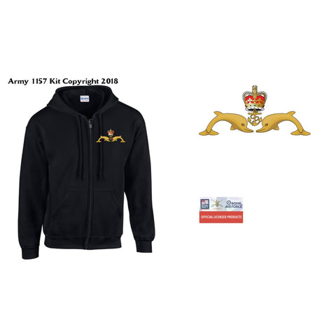 Ministry Of Defence Zip Hoodie With Submariners Dolphins Logo Front Only Official Mod Approved Merchandise - S - Hoodie