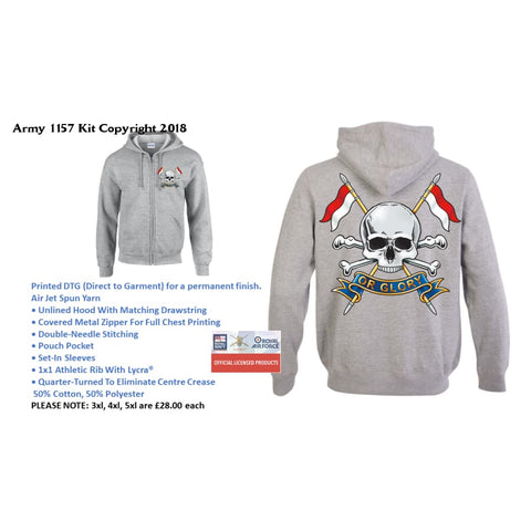Ministry Of Defence Zip Hoodie With The Royal Lancers Logo Front And Back. Official Mod Approved Merchandise - S - Hoodie