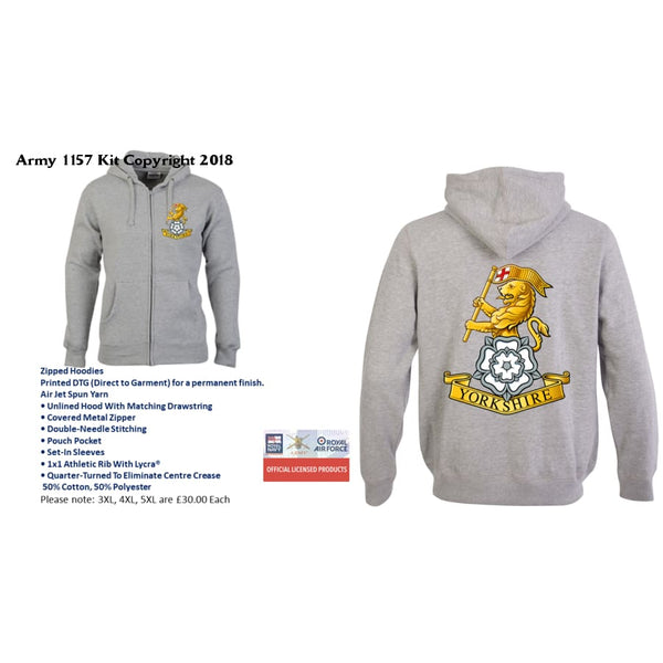 Ministry of Defence Zip Hoodie with THE YORKS REGIMENTS Logo Front and Back. Official MOD Approved Merchandise - Army 1157 Kit  Veterans Owned Business