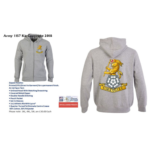 Ministry Of Defence Zip Hoodie With The Yorks Regiments Logo Front And Back. Official Mod Approved Merchandise - S - Hoodie