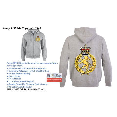 Ministry of Defence Zip Hoodie with WRAC Logo Front and Back. Official MOD Approved Merchandise - Army 1157 Kit  Veterans Owned Business