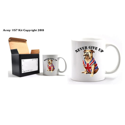 Never Give Up Mug and Gift Box set - Army 1157 Kit  Veterans Owned Business