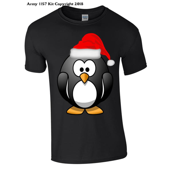 Penguin Christmas T-Shirt Part Of The Army 1157 Kit Christmas Collection - S / Black - T Shirt