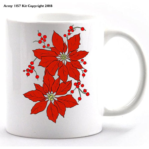 Poinsetta Mug and Gift box set. Part of the Army 1157 Kit Christmas Collection - Army 1157 Kit  Veterans Owned Business