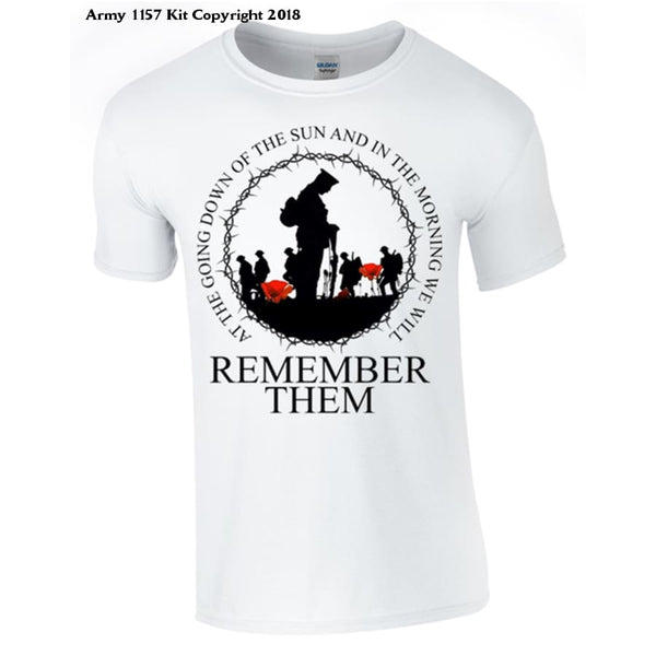 Rememberance, At the going down of the sun T-Shirt - Army 1157 Kit  Veterans Owned Business