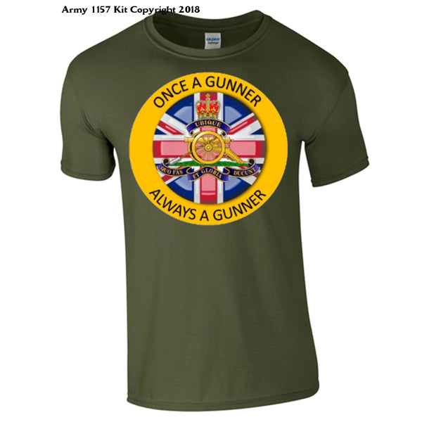 Royal Artillery `Once a Gunner´T-Shirt al MOD Approved Merchandise - Army 1157 Kit  Veterans Owned Business