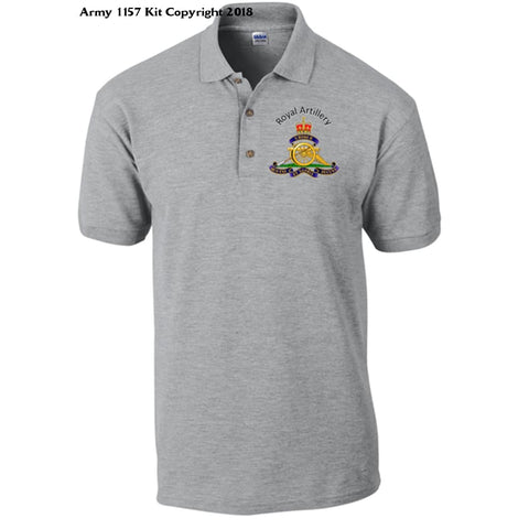 Royal Artillery Polo Shirt Official Mod Approved Merchandise - S / Grey - Polo Shirt