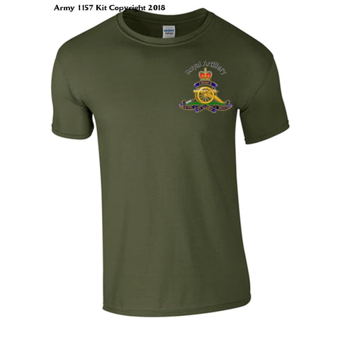 Royal Artillery T-Shirt Front Logo Only Official Mod Approved Merchandise - S / Green - T Shirt