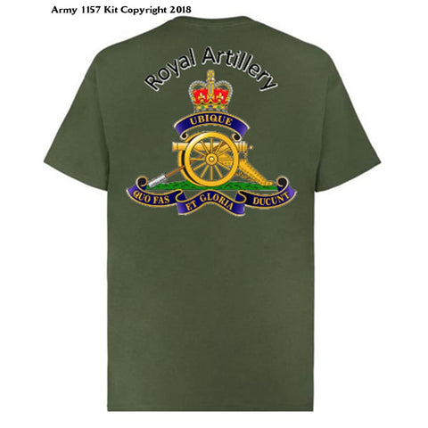 Royal Artillery/Gunner T-shirt front & Back Print - Army 1157 Kit  Veterans Owned Business