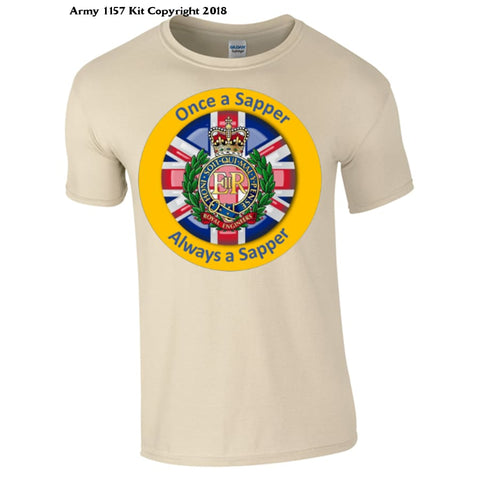 Royal Engineer `once A Sapper´ T-Shirt Official Mod Approved Merchandise - S / Sand - T Shirt