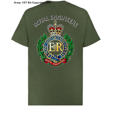 Royal Engineer T-Shirt Back And Front Print Official Mod Approved Merchandise - S / Green - T Shirt