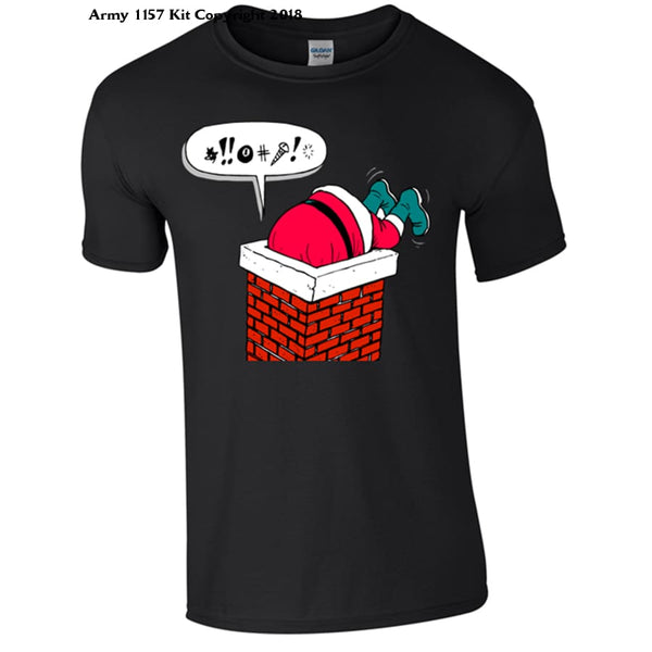 Santa Stuck In The Chimney T-Shirt Part Of The Army 1157 Kit Christmas Collection - S / Black - T Shirt