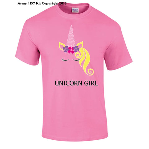 Unicorn Girl T-Shirt - 7-8 Yrs / Pink - T Shirt