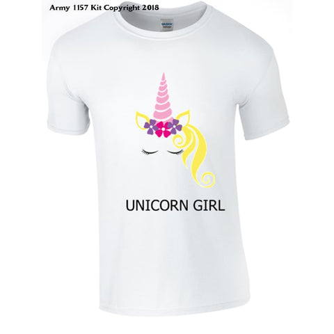 Unicorn Girl T-Shirt - 7-8 Yrs / White - T Shirt