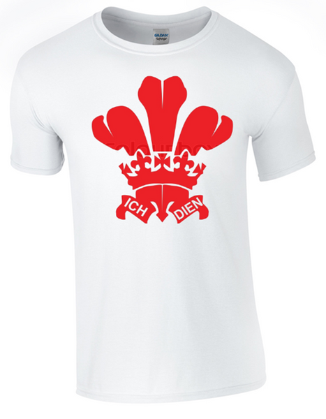 St David's Day Prince of Wales Feathers T-Shirt Printed DTG (Direct to Garment) for a Permanent Finish White - Army 1157 Kit  Veterans Owned Business