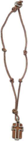 Leather Slot Cross Necklace