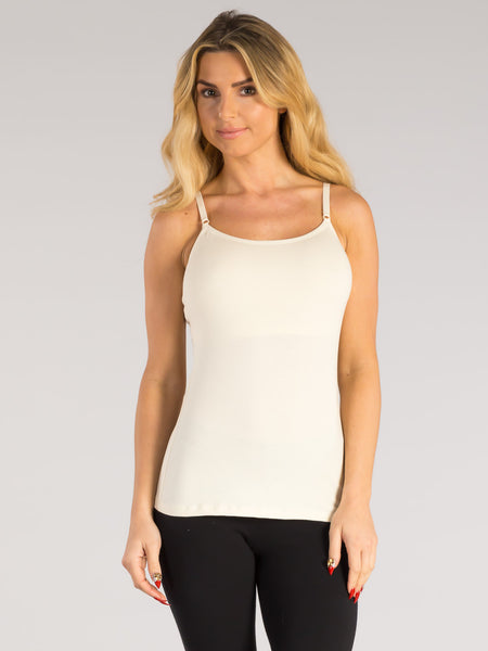 ORGANIC COTTON STRETCH CAMI WITH BUILT-IN BRA