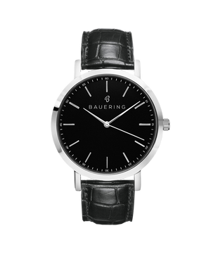 Bauering classic silver, black dial men's watch with finished genuine black crocodile leather strap. Perfect accessory to match jewelry and accessories. Online exclusive at BAUERING.