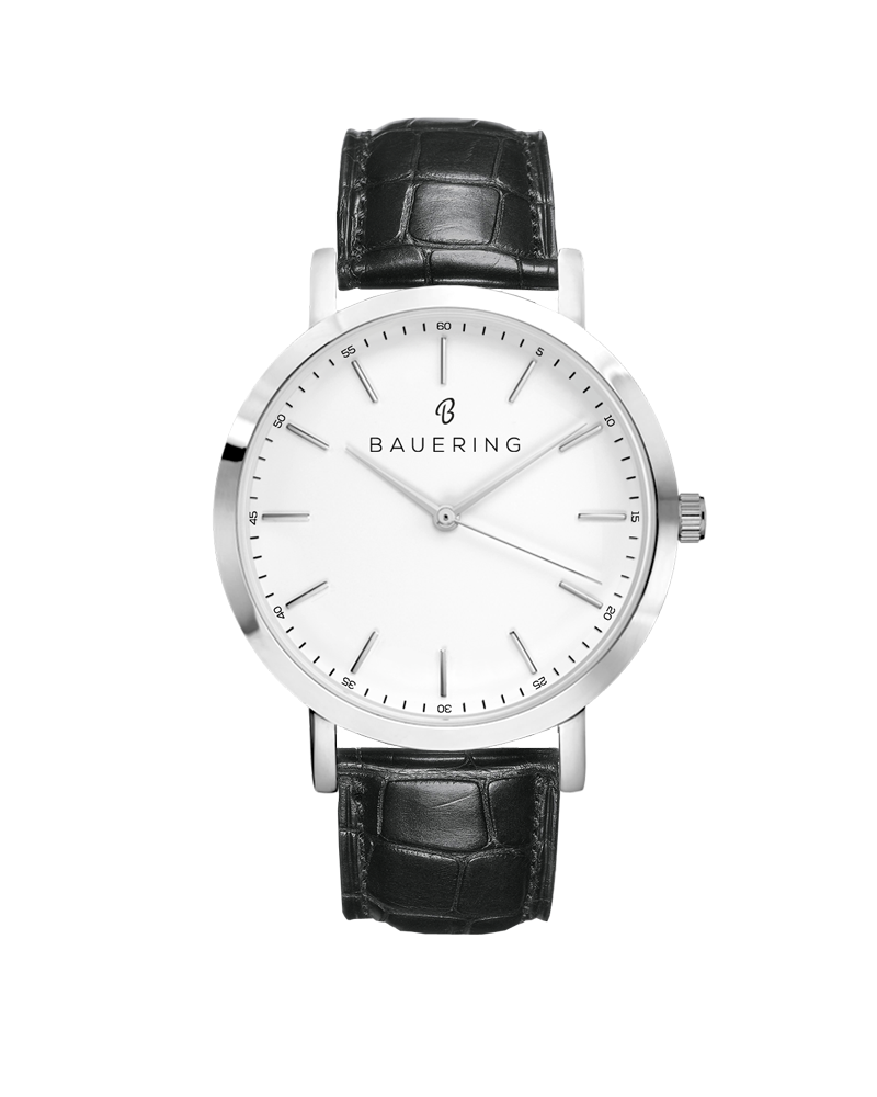 Bauering classic silver, white dial men's watch with finished genuine black crocodile leather strap. Perfect accessory to match jewelry and accessories. Online exclusive at BAUERING.