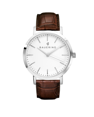 Bauering classic silver, white dial men's watch with finished genuine brown crocodile leather strap. Perfect accessory to match jewelry and accessories. Online exclusive at BAUERING.