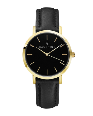 Classic gold, black dial women's watch with finished genuine black leather strap. Perfect accessory to match jewelry and accessories.