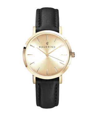 Classic gold women's watch with sheer gold dial and genuine black leather strap. Perfect accessory to match jewelry and accessories.