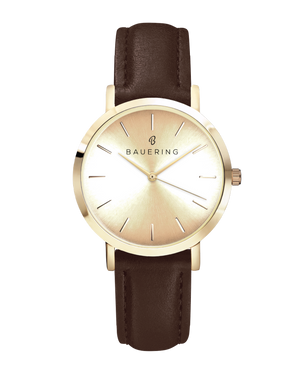 Classic gold women's watch with genuine brown leather strap. Gold sunray dial watch for ladies.