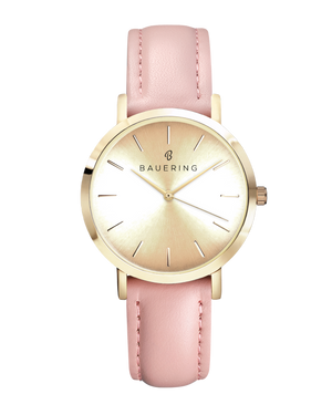 Classic gold women's watch with gold sunray dial and genuine pink leather strap. Perfect accessory to match jewelry and accessories.