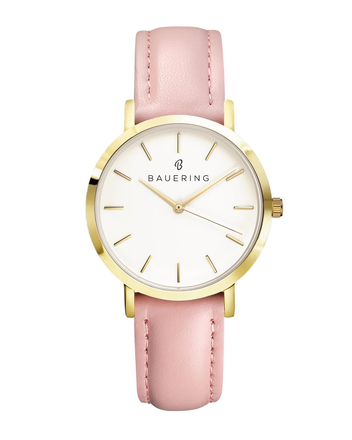 Classic stainless steel womens watch with genuine pink leather strap. Perfect accessory to match jewelry and accessories.