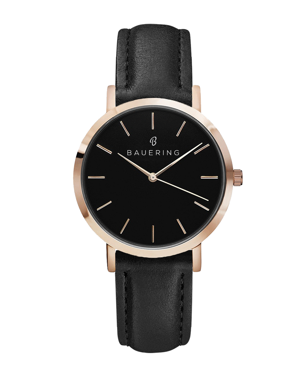 Classic black dial rosegold women's watch with finished genuine black leather strap. Perfect accessory to match jewelry and accessories.