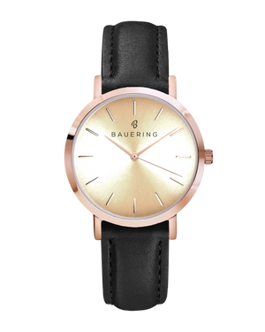 Classic rosegold women's watch with a gold dial. Finished  with a genuine black leather strap. Perfect accessory to match jewelry and accessories.