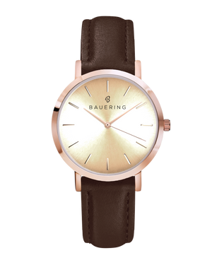 Classic rosegold women's watch with a gold dial. Finished  with a genuine brown leather strap. Perfect accessory to match jewelry and accessories.