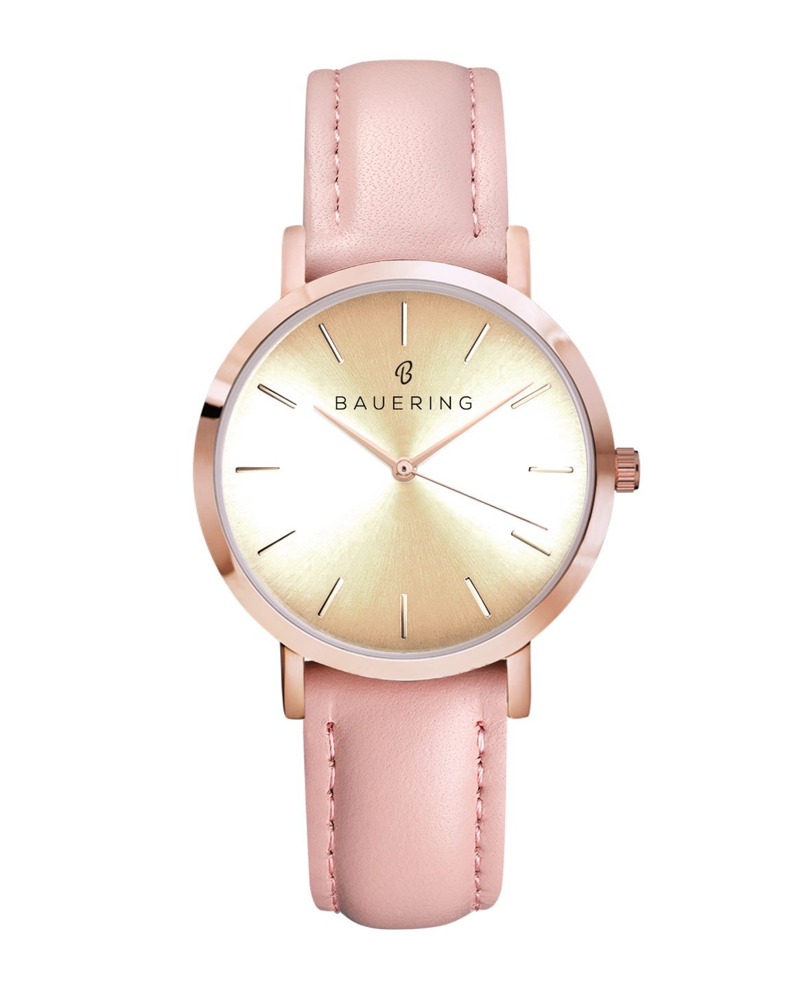 Classic rosegold women's watch with a gold dial. Finished  with a genuine pink leather strap. Perfect accessory to match jewelry and accessories.