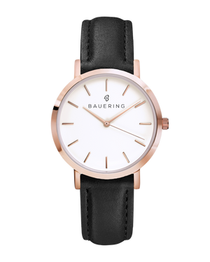Classic rosegold women's watch with classic dial and finished genuine black leather strap. Perfect accessory to match jewelry and accessories.