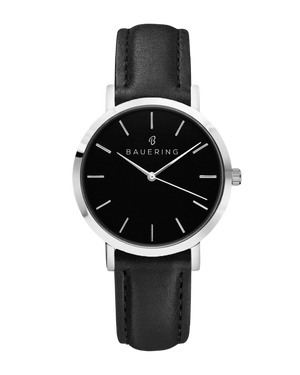 Classic black dial silver women's watch with finished genuine black leather strap. Perfect accessory to match jewelry and accessories.