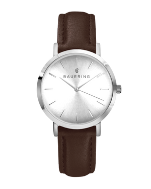 Classic silver women's watch with silver sunray dial and genuine brown leather strap. Perfect accessory to match jewelry and accessories.