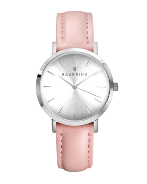 Classic silver women's watch with silver sunray dial and genuine pink leather strap. Perfect accessory to match jewelry and accessories.